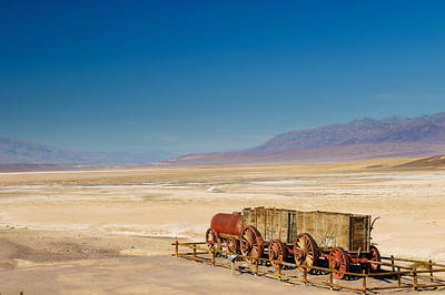 Looking over the wagon at Harmony Borax Works with the grapevine mountains in the distance.