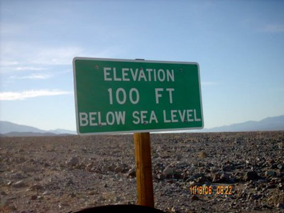Below sea level <br /> This sign is just outside of Texas Spring and Sunset campground.