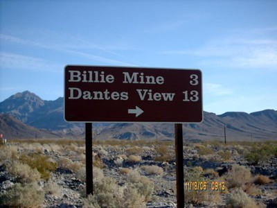 Dantes View Road <br /> This sign is at the turn off to Dante View from Hiway 190.