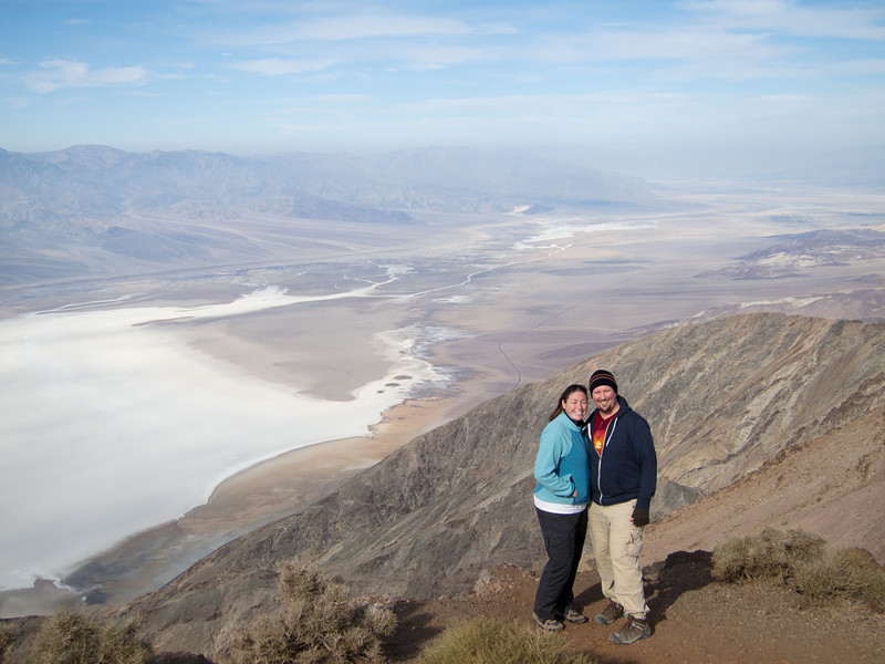 """<span id=""""title"""">J&A Snapshot</span> <em>Dante's View</em> We're a bit squinty looking into the sun. You can see that it was a little cold up there."""