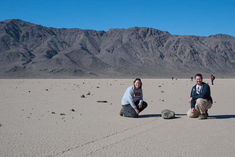 "<span id=""title"">J&A Snapshot</span> <em>Racetrack Playa</em> You can see it's actually a pretty popular spot, despite it's remoteness. At least none of my other rock pictures have random people in them."