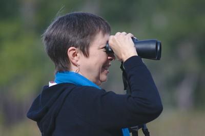 Watching the birds on Jason's Lake at at Botany Bay Plantation