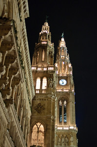 The illuminated Rathaus. Vienna's city hall.