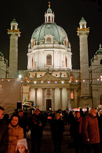 I left Los Angeles on Wednesday, 12/3 on British Air and arrived in Vienna on 12/4 in the afternoon. I actually took my own advice and booked a taxi from the airport to Hotel Graf-Stadion. Smart move.   My hotel was close to Vienna's subway and the Rathaus with the huge Christmas market. I headed to Karlskirche (St. Charles Church) first and this is what I saw!