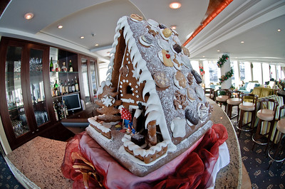 The gingerbread house was a fixture on the bar.