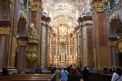 The sanctuary is overwhelming in its Baroque detail.