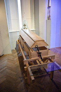 The is a reusable coffin, circa late 1700's. Part of Joseph's reformations.