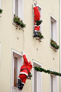 Santa decorations are popular.