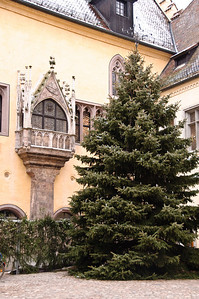 Juliet balcony and a Christmas tree.