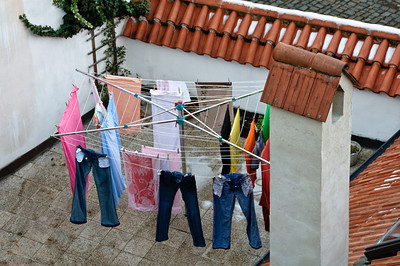 Even in December the laundry is drying outside.