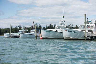 20150723.  Lobster boats in inner Webb Cove, Deer Isle, ME.