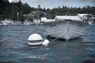 20150723.  Small motor boat in inner Webb Cove, Deer Isle, ME.
