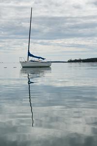 20150724.  Sailboat in Webb Cove , Deer Isle, ME.
