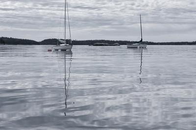 20150724.  Sail boats in Webb Cove, Deer Isle, ME.
