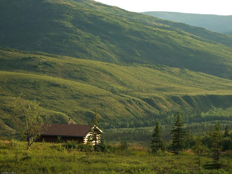 Camp Denali cabin at sunset.