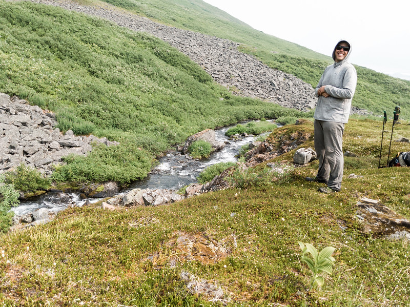 We climbed down the scree field, across the stream, and stopped for lunch.
