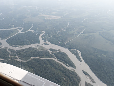 Flying over the Susitna River.
