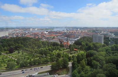 Centrum Aalborg vanaf de uitkijktoren