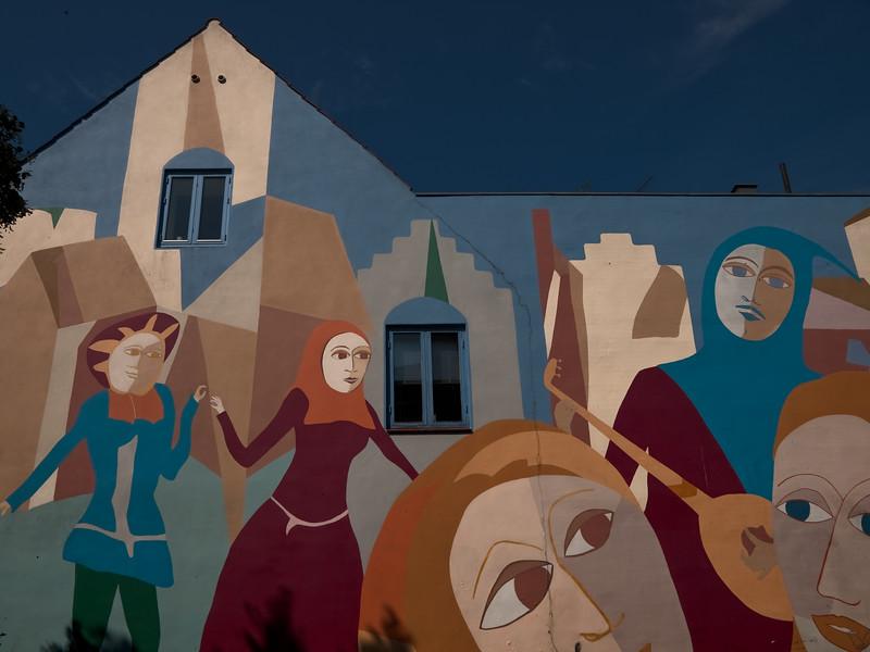 Wall art medieval figurs Roskilde Denmark