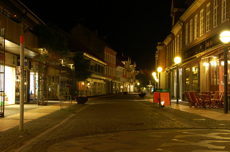 We arrived in Bornholm on the 6th. It rained ALL DAY but then cleared up by late evening so we went out and shot some night photos. The city gets deserted after 10 p.m. or so, so there was hardly anyone outside on the streets.  This is actually in the main city square.