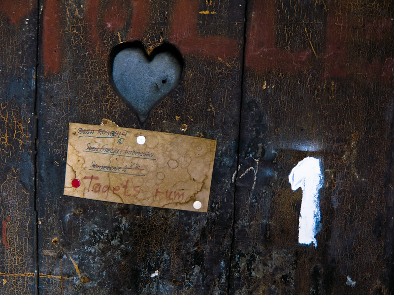 Sign heart number 1 old door Copenhagen Denmark