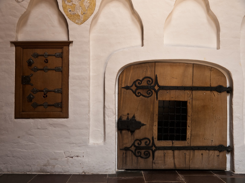 Doors and white wall Roskilde Cathedral Denmark