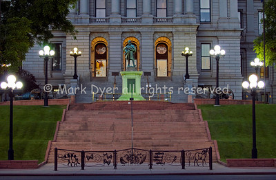 Denver Capitol steps at dusk