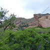 View of the Red Rocks and Amphitheatre at a park in Denver, Colorado.