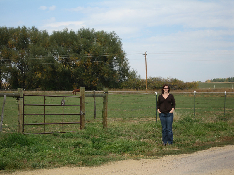 Sally in front of the Colorado Therapeutic Riding Center (CTRC)