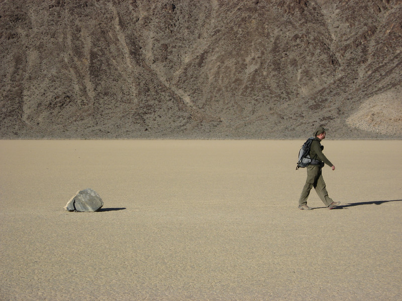 "A ""moving rock"" at Death Valley, The Racetrack; but this one rock seems like it hasn't ""moved"" yet"