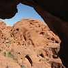 Valley of Fire State Park - view out from within an arch; this one was cavernous but was an arch, not cave. This is first time we are seeing arch structure in nature so were pretty excited about it.