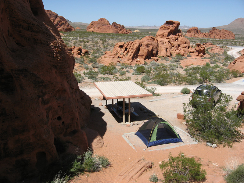 Our campsite viewed from rocks above at Valley of Fire.