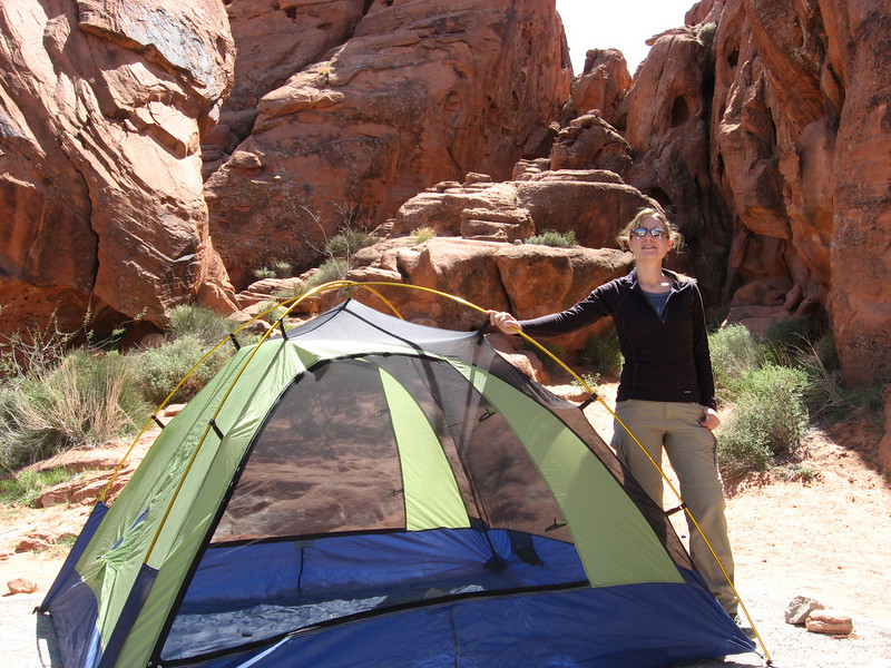 Lauren at Valley of Fire State Park - we got our tent set up...