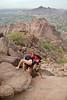 Cindy CLimbing to the top of Camelback Mountain, Phoenix Arizona