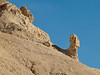 081231_7577 Badlands (eroded lakebed sediments) with small spire, seen from road through Twenty Mule Team Canyon