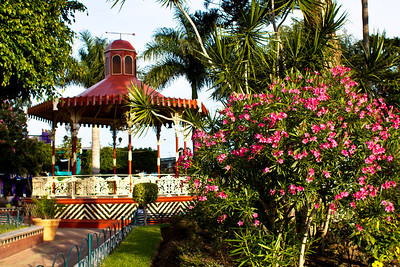 The plaza, bandstand gazebo, Ajijic, Jalisco, Mexico. Lago de Chapala (Lake Chapala)