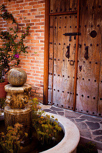 Antique doors and fountain, Ajijic, Jalisco, Mexico. Lago de Chapala (Lake Chapala)