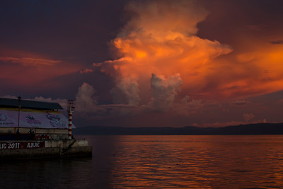 A dramatic sunset over Lago de Chapala (Lake Chapala), Ajijic, Jalisco, Mexico.