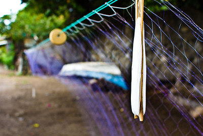Fishing net and boat detail, Lago de Chapala, Ajijic, Jalisco, Mexico.
