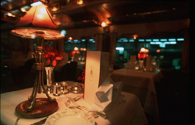 Dining table detail, the Eastern and Orient Express luxury train, Southeast Asia.