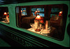 Dining car window of the Eastern and Orient Express luxury train that travels the Malay Peninsula between Singapore and Bangkok, Southeast Asia.