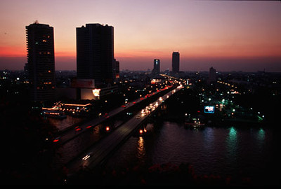 Night time city overview, Bangkok, Thailand, Southeast Asia