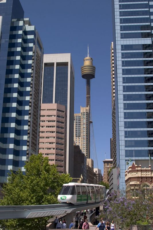 Sydney Tower and monorail as viewed from Darling Harbour, Sydney, New South Wales, Australia