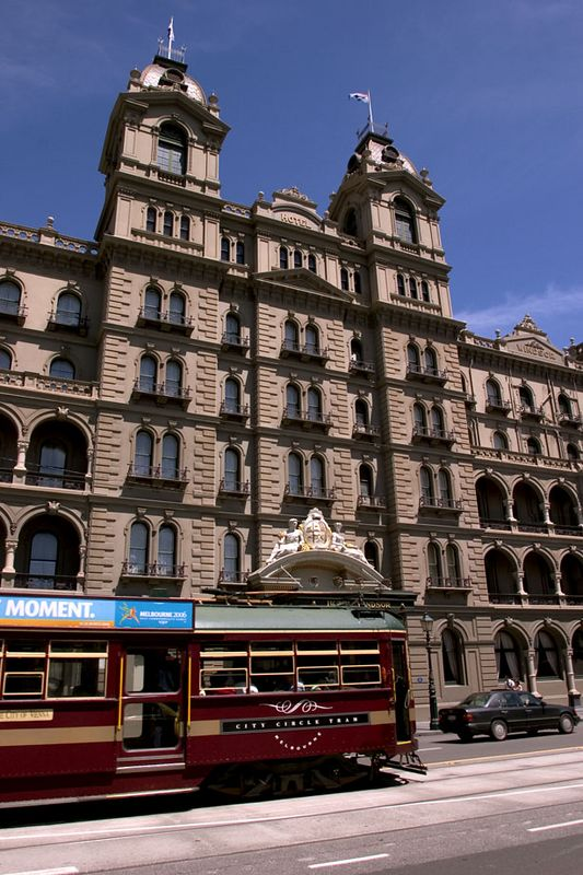 City tram and Hotel Windsor, a lovely example of Victorian architecture, Melbourne, Victoria, Australia