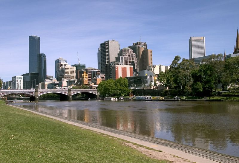 city skyline and Yarra River, Melbourne, Australia
