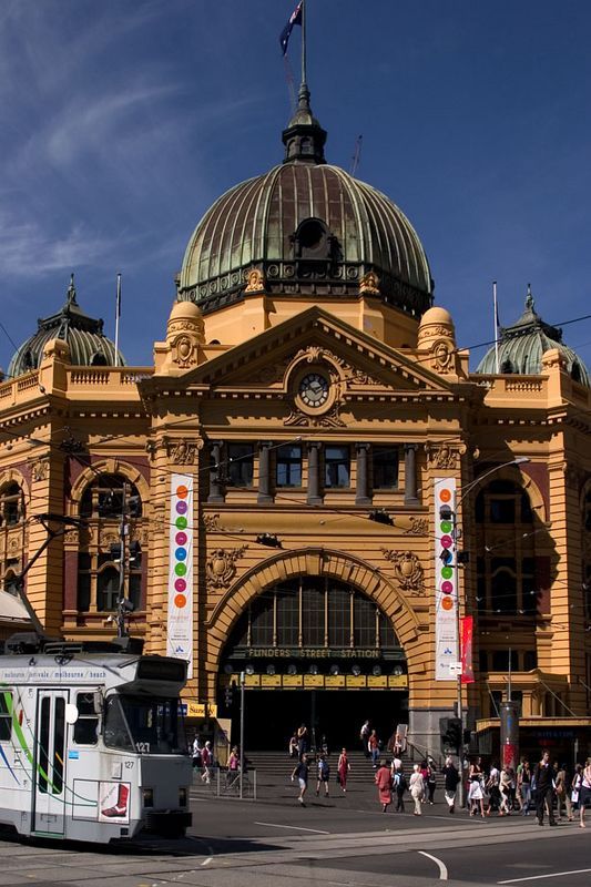 Finders Street Train Station and city tram, Melbourne, Australia
