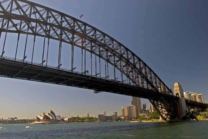 Sydney Harbour Bridge, Opera House and city skyline, Sydney, New South Wales, Australia