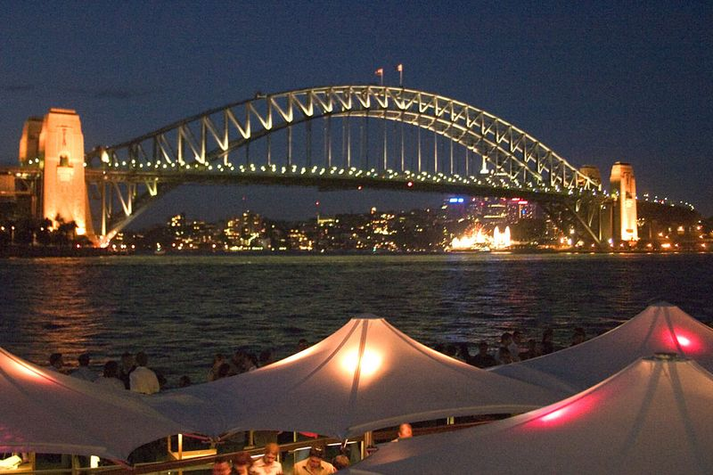 Sydney Harbour Bridge as viewed at night from Circular Quay, Sydney, New South Wales, Australia