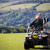 A friendly farmer with sheep dog, near Exford, Exmoor National Park, Somerset. England, U.K.