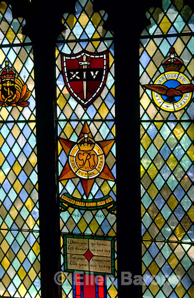 Beautiful stained glass window, memorial dedicated to those who fought in the Burma campaign, Bodleian Library, Oxford, England